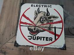 Plaque emaillee ancienne JUPITER ELECTRIC