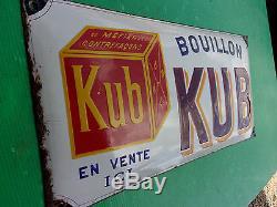 Plaque emaillee ancienne KUB, modèle peu courant, bombée