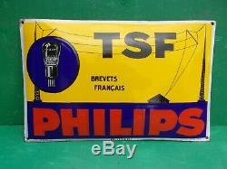 Plaque emaillee ancienne PHILIPS TSF, bombée, super etat
