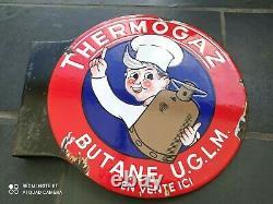 Plaque émaillée ancienne THERMOGAZ BUTANE U. G. L. M