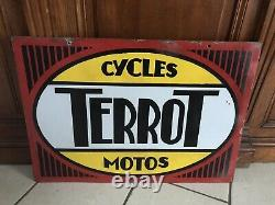 Plaque emaillee ancienne Terrot Cycles Motos Double Face