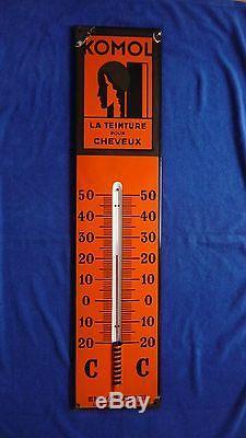 Plaque emaillee ancienne, Thermomètre, années 30, tube fonctionne, 1m environ