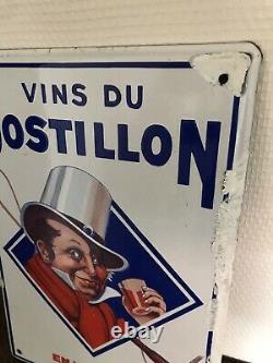 Plaque emaillee ancienne Vins Du Postillon Émaillerie Strasbourg