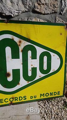 Plaque émaillée ancienne Yacco Double face 100cm66cm vintage enamel sign