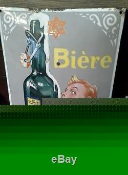 Plaque emaillee ancienne bière perle