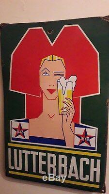 Plaque emaillée ancienne bière Lutterbach
