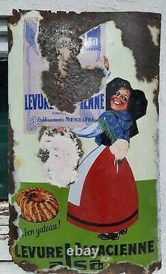 Plaque émaillée ancienne bombée Alsa Levure Alsacienne émaillerie Strasbourg