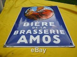 Plaque émaillée ancienne bombée Bière de la brasserie AMOS