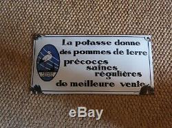 Plaque émaillée ancienne bombée Potasse d'Alsace Edition Jean Paris