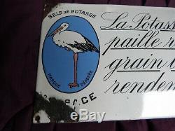 Plaque émaillée ancienne bombée Potasse d'Alsace Edition Jean Paris La Paille