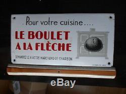 Plaque émaillée ancienne, bombée, Pour votre cuisine, Le boulet A La Flèche