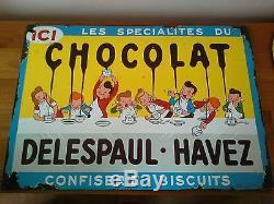 Plaque emaillee ancienne chocolat delespaul havez