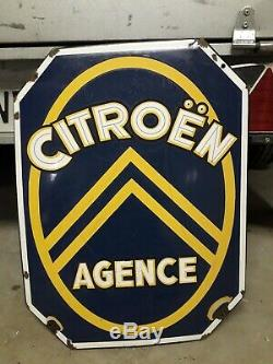 Plaque emaillee ancienne citroene 60/45cm