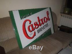 Plaque émaillée ancienne de vieux garage Castrol huile moteurs