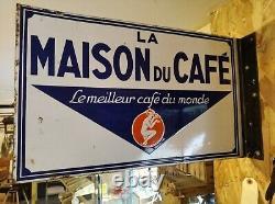 Plaque emaillee ancienne la maison du café
