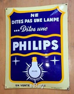 Plaque emaillee ancienne phillips, bombee tbe