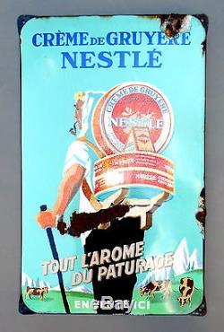Plaque emaillee anciennetres tres rare Nestlé crème de Gruyère. Enamel plate