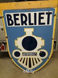 Plaque emaillee berliet 100-70cm double face