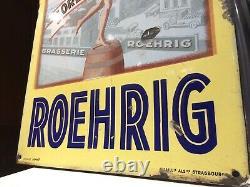 Plaque emaillée biere roehrig modèle déposé émaillerie alsacienne strasbourg