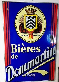 Plaque émaillée bières de DOMMARTIN Années 30