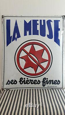 Plaque émaillée bombée LA MEUSE Ses Bières Fines/Vintage Porcelain Beer Sign