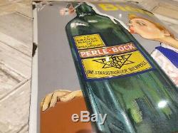 Plaque emaillée bombée biere perle