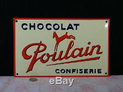 Plaque émaillée bombée chocolat poulain
