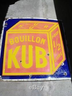 Plaque émaillée bouillon Kub 96x96cm. Grande taille. Emaillerie jean