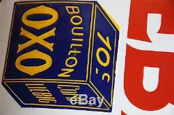 Plaque emaillee bouillon oxo 47 x 33 cm tres belle brillante