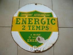 Plaque émaillée carburant auto lubrifiant energic 2 temps huile Energol 60 cm