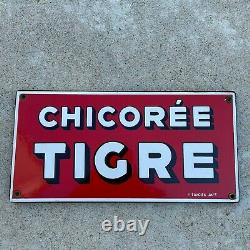 Plaque émaillée chicorée tigre JAPY email retro