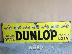 Plaque émaillée de garage, grand modèle, DUNLOP, décor par Savignac
