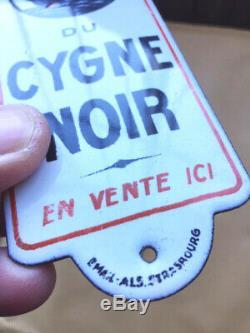 Plaque émaillée de propreté Produits Cygne Noir émaillerie Alsacienne Strasbourg