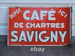 Plaque émaillée double face CAFE de Chartres SAVIGNY