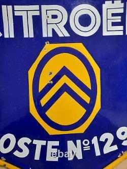 Plaque émaillée double face CITROEN Poste N°1292 E. A. S 80x90cm Garage Automobile