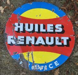 Plaque émaillée double face HUILES RENAULT Garage, Automobilia 65cm années 50