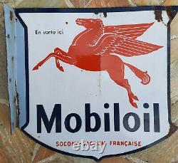 Plaque émaillée double face MOBILOIL Pegasus Garage Automobile Huile années 20