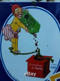 Plaque emaillee double face d'après Stall André Lapuszewski CAFEXQUI 1930