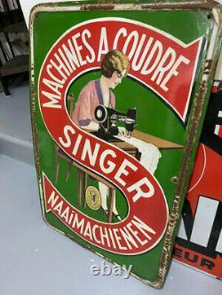 Plaque émaillée emaille Singer machine a coudre