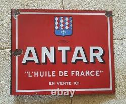 Plaque émaillée enseigne double face Huile Antar Emaillerie Alsacienne 22116