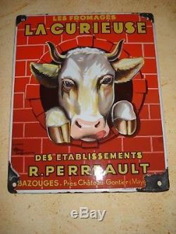 Plaque émaillée fromages La Curieuse EAS 1940