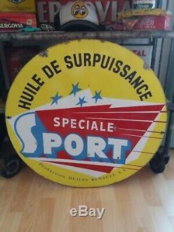 Plaque émaillée garage huile Renault sport