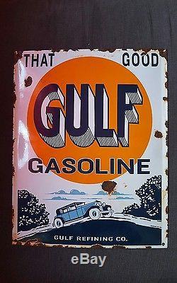 Plaque emaillee gulf gasoline