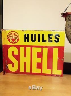 Plaque émaillée huiles SHELL ancienne 1936