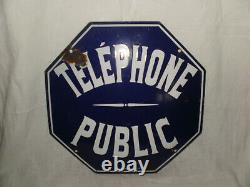 Plaque émaillée octogonale téléphone public, par vitracier Japy