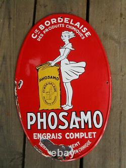 Plaque émaillée originale PHOSAMO BORDEAUX 59 X 39 cm