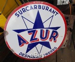 Plaque émaillée originale double faces AZUR DESMARAIS FRERES SUPERCARBURANT