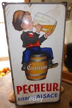 Plaque émaillée pécheur bière d'Alsace émaillerie Alsacienne Strasbourg