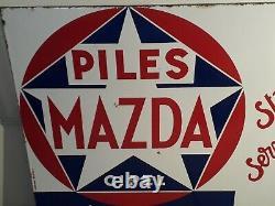 Plaque émaillée piles Mazda double face Vitracier Neuhaus années 50 50x41 cm