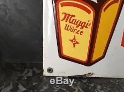 Plaque émaillée potages Maggi les 4 produits